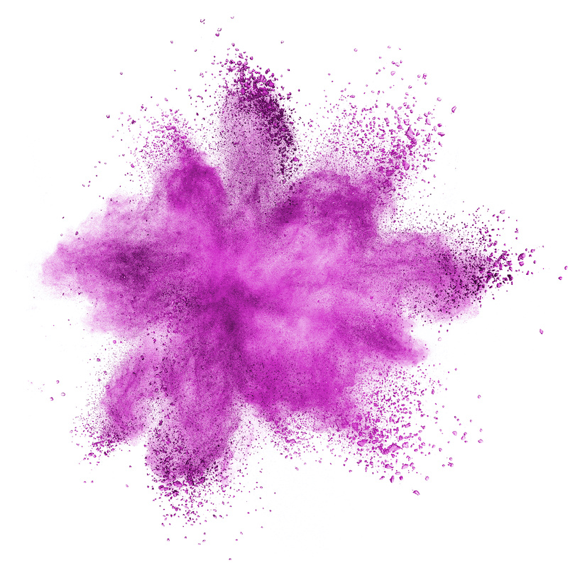 Pink powder explosion isolated on white background